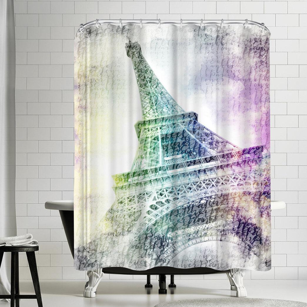 East Urban Home Melanie Viola Paris Eiffel Tower Shower Curtain Wayfair