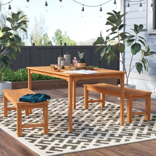 Beachcrest Home Elsmere 3 Piece Teak Dining Set