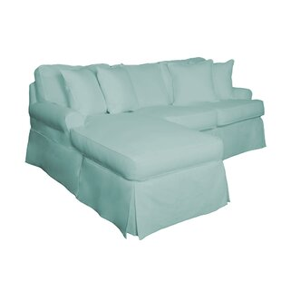 Huguley Slipcovered Sleeper Sofa with Chaise | Performance Ocean Blue