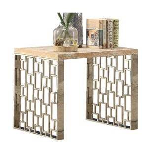 Lyanna Metal Frame Wooden End Table by Bloomsbury Market