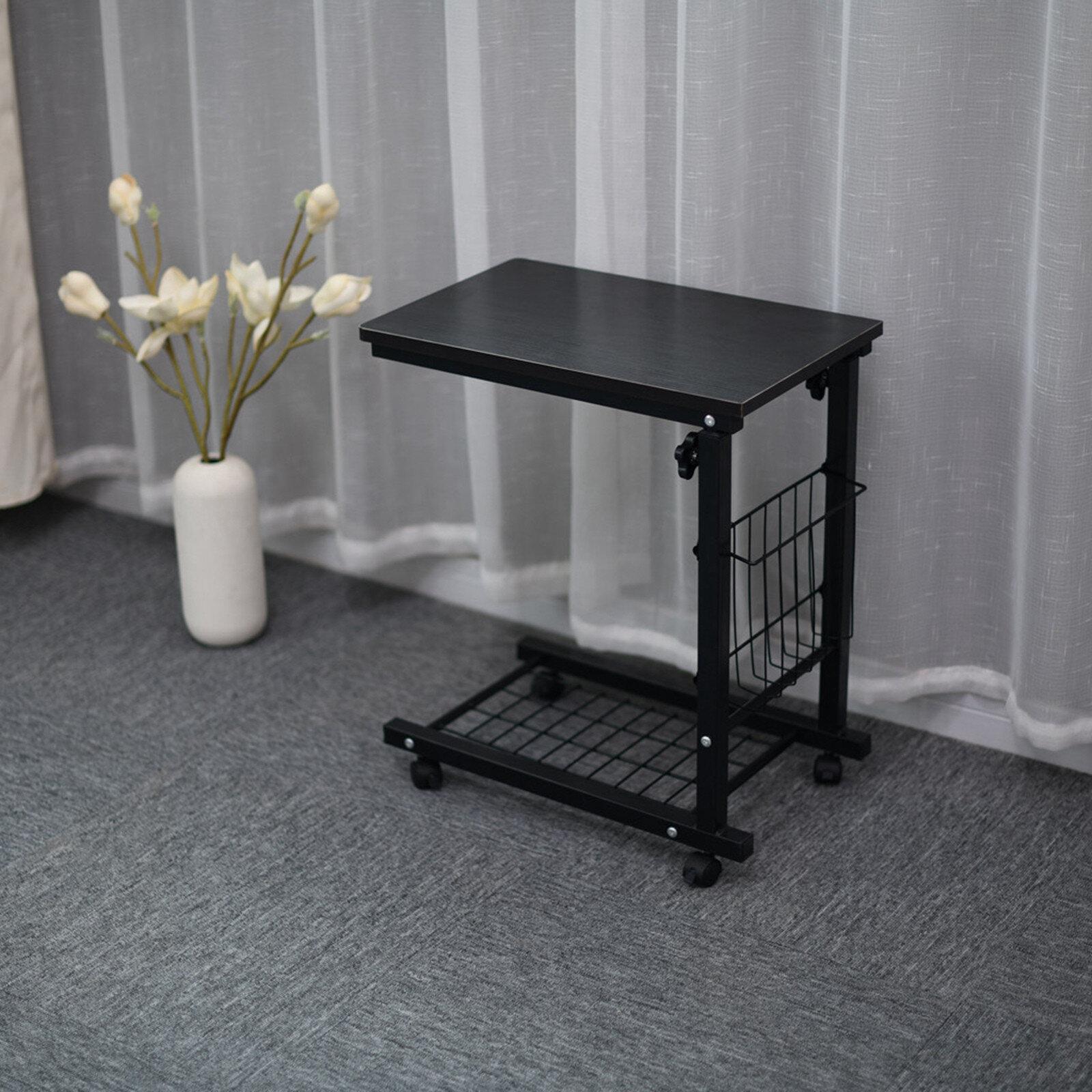Ebern Designs Height Adjustable Sofa Side Table Wheel Mobile