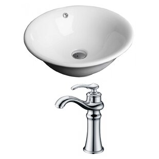 Compare & Buy Ceramic Circular Vessel Bathroom Sink with Faucet and Overflow ByRoyal Purple Bath Kitchen