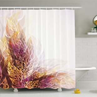Bargain Modern Art Home Psychedelic Floral with Blurry Leaf Visuals and Dynamic Effects Shower Curtain Set ByAmbesonne