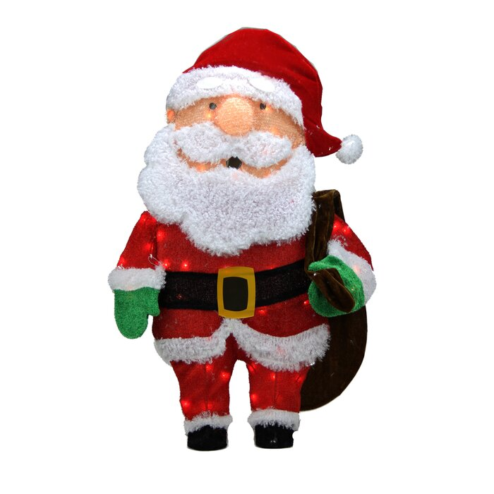 Northlight Candy Lane Pre Lit Cane 2d Santa Claus With Bag Christmas