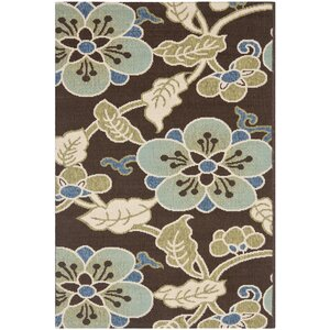 Tierney Chocolate/Aqua Indoor/Outdoor Area Rug