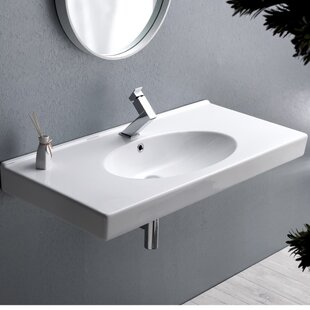 CeraStyle by Nameeks Rita Ceramic Rectangular Drop-In Bathroom Sink with Overflow