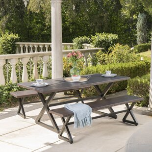 Union Rustic Lal Outdoor Aluminum 3 Piece Dining Set