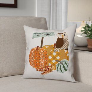 Pumpkin Patch Owl Throw Pillow