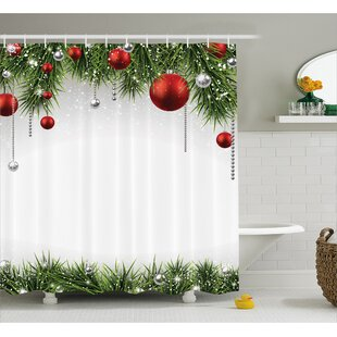 Christmas Tree Balls Ornaments Shower Curtain Hooks