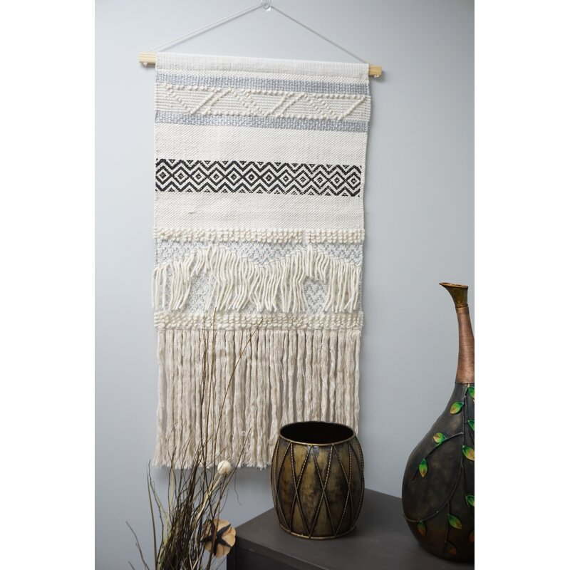 Bungalow Rose Wool And Cotton Large Macrame Wall Hanging With Rod Included Wayfair