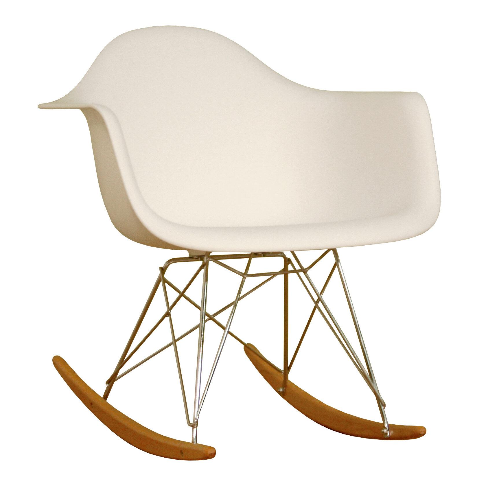 Wholesale Interiors Baxton Studio Mid-Century Modern Rocking Chair u0026 Reviews | Wayfair  sc 1 st  Wayfair & Wholesale Interiors Baxton Studio Mid-Century Modern Rocking Chair ...