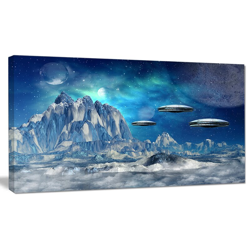 'Blue Alien Planet' Photographic Print on Wrapped Canvas