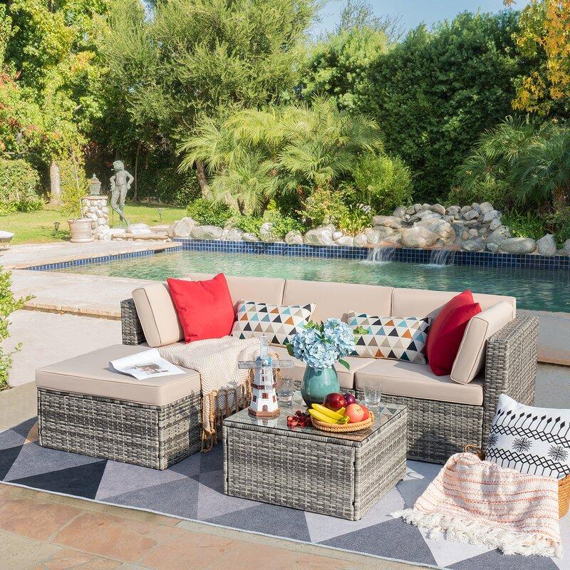 Latitude Run Agaran 5 Piece Rattan Sectional Seating Group With Cushions Reviews Wayfair