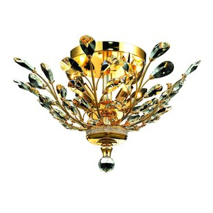 Rosdorf Park Safiya 4-Light Crystal Floral Semi Flush Mount