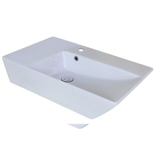 American Imaginations Ceramic Rectangular Vessel Bathroom Sink with Faucet and Overflow