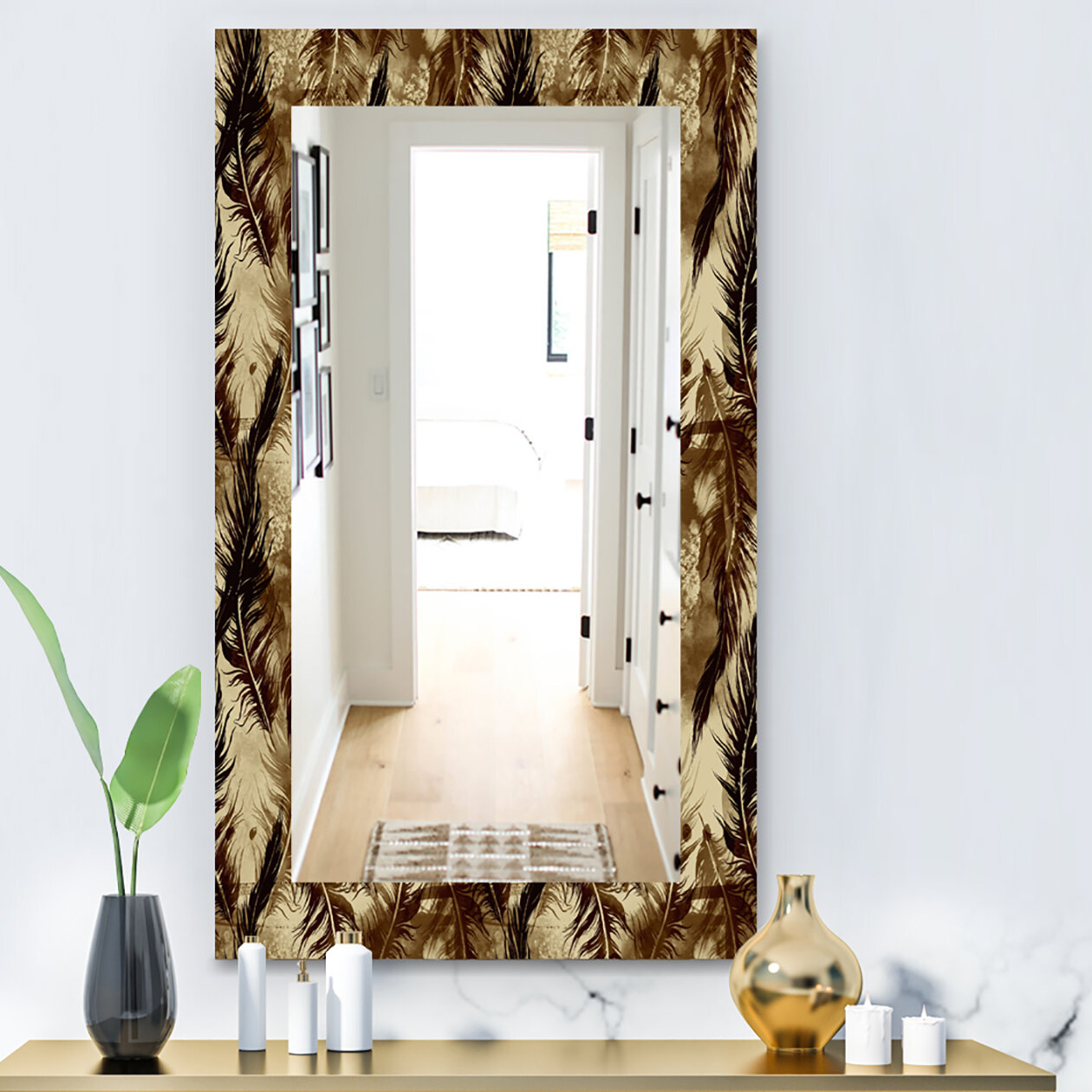 East Urban Home Feathers 15 Bohemian And Eclectic Frameless Bathroom Vanity Mirror Wayfair