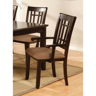 Kinzey Upholstered Arm Chair in Brown Set of 2 by Alcott Hill