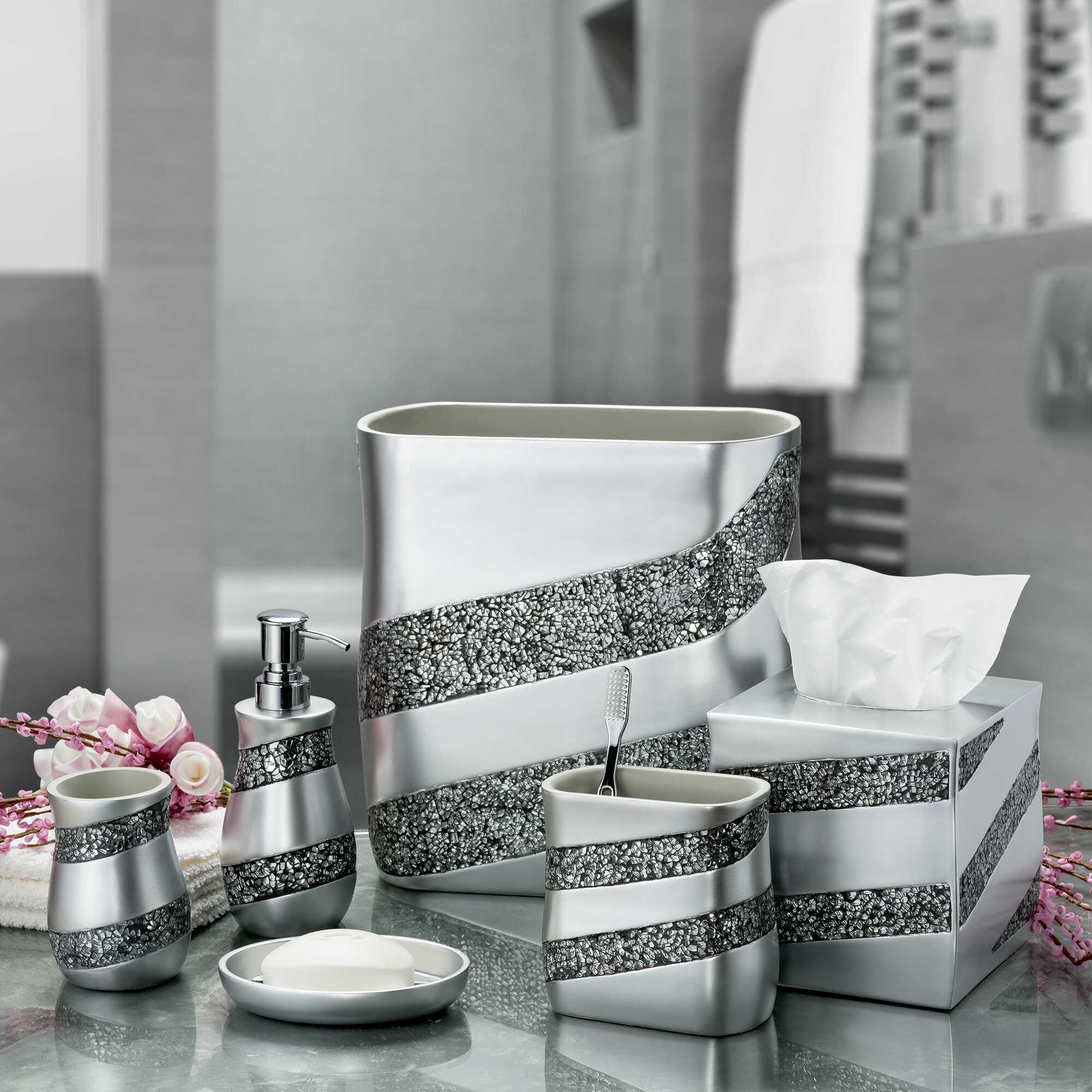 783d58f9ea32 Silver Mosaic 6 Piece Bathroom Accessories Set