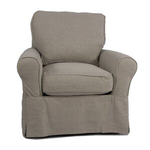 Maddy Slipcovered Swivel Armchair by Laurel Foundry Modern Farmhouse