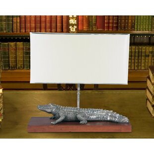 Tropical Tales Pewter Alligator 24 Table Lamp
