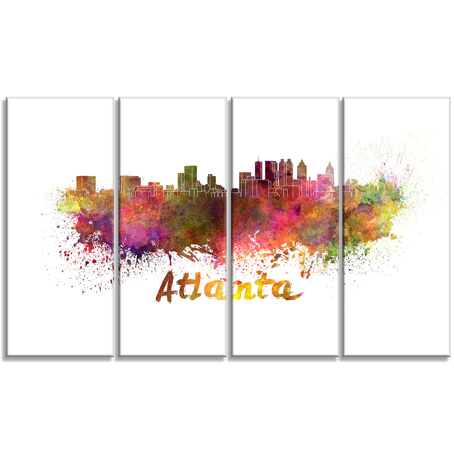 Designart Atlanta Skyline Cityscape 4 Piece Painting Print On Wrapped Canvas Set Wayfair