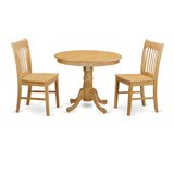 Malaki 3 - Piece Rubberwood Solid Wood Dining Set by August Grove®