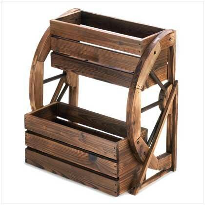 Wagon Wheel Double Tier Wood Vertical Garden