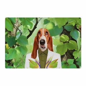 Natt into the Leaves N6 Dog Green Area Rug