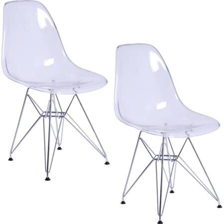 Wrought Studio Faris Plastic Side Dining Chair in White (Set of 2)