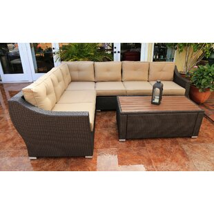 World Wide Wicker Tampa 5 Piece Sectional Seating Group with Cushions