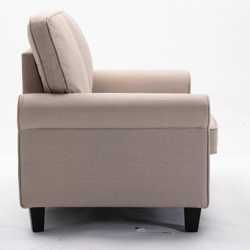 Red Barrel Studio Modern Loveseat Traditional Soft Upholstered 61 Inch Loveseat Sofa Comfortable Apartment Couch With 2 Seat Grey Weave
