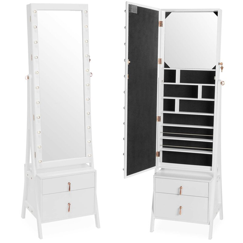 0995bf7a5 Mercer41 Caudill Free Standing Jewelry Armoire with Mirror & Reviews ...