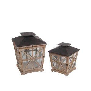 2 Piece Wood and Iron Lantern Set