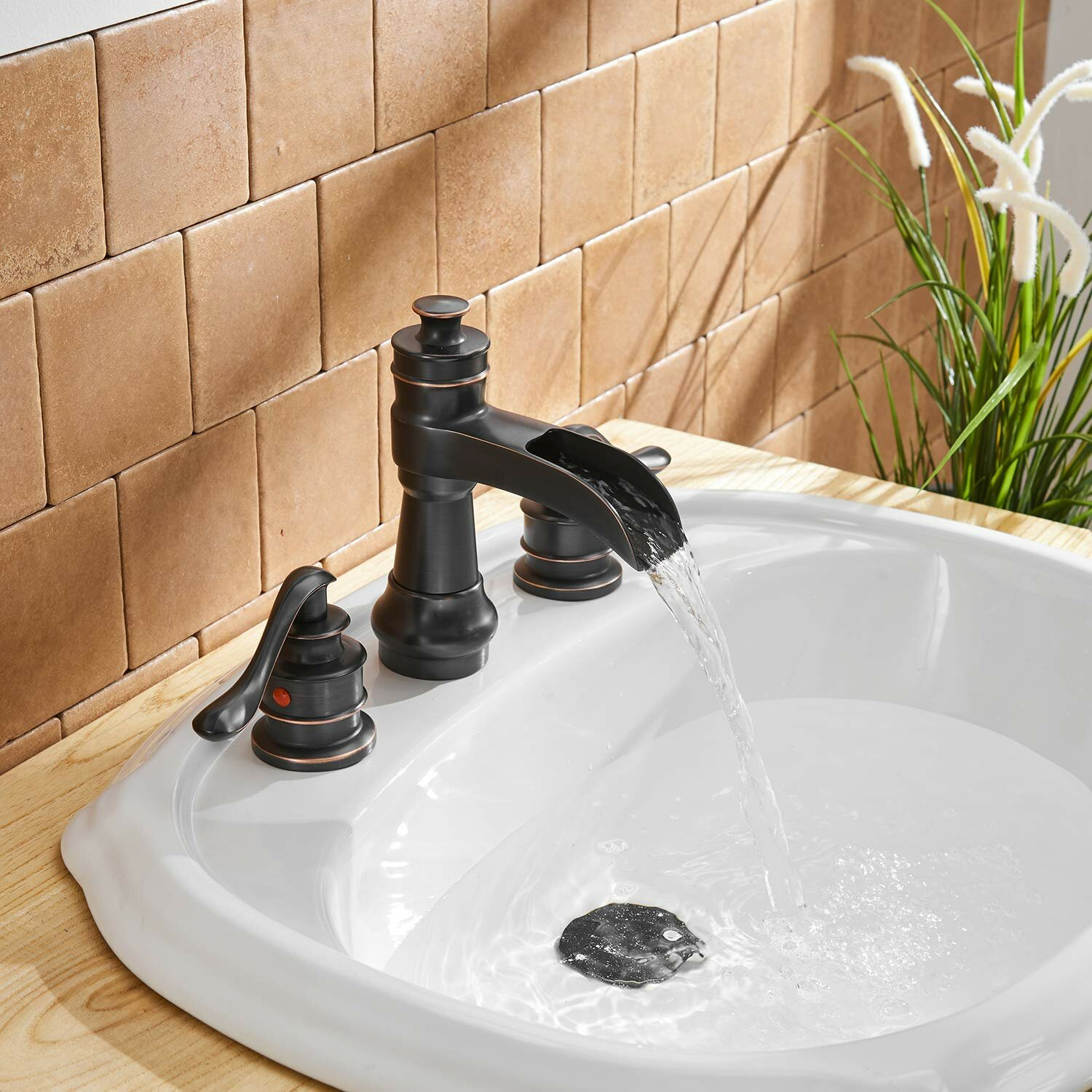 BWE Commercial Widespread Waterfall 3 Holes Oil Rubbed Bronze Bathroom Faucet