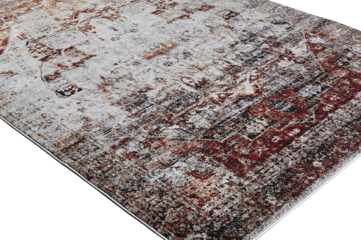 Brahim Red Gray Area Rug
