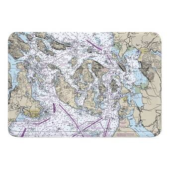 Breakwater Bay Nautical Chart St Thomas St John Usvi Rectangle Memory Foam Non Slip Bath Rug Wayfair