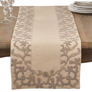 Arnt Floral Embroidered Flourish Border Trim Table Runner