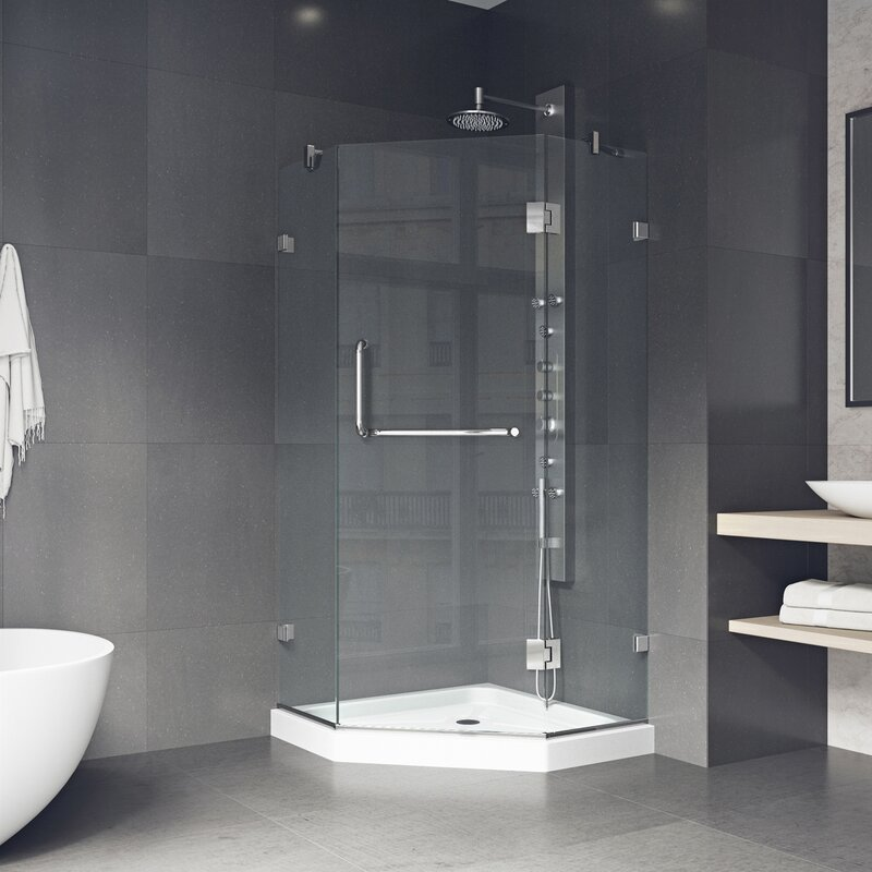 Piedmont 36 X 76 75 H Neo Angle Hinged Shower Enclosure With Base Included By Vigo For Bathroom Wonderful Furniture