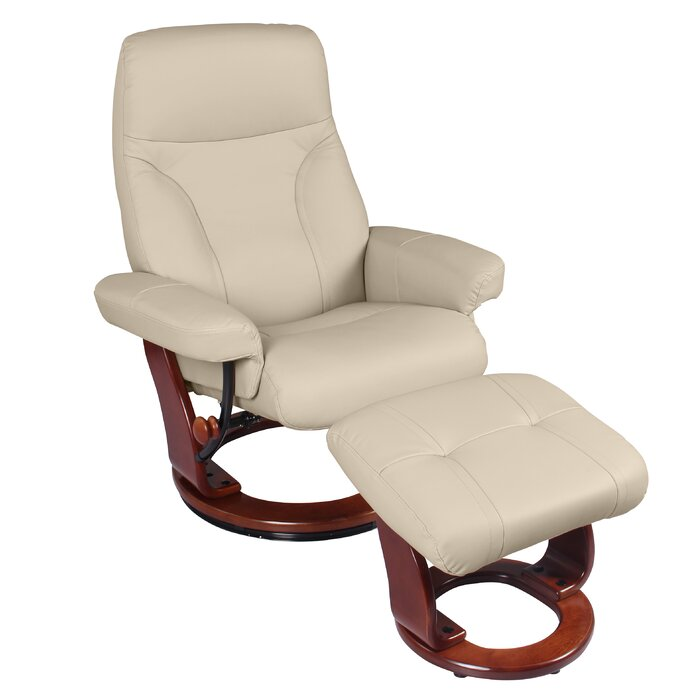 Astounding Melanie Leather Manual Swivel Recliner With Ottoman Ibusinesslaw Wood Chair Design Ideas Ibusinesslaworg