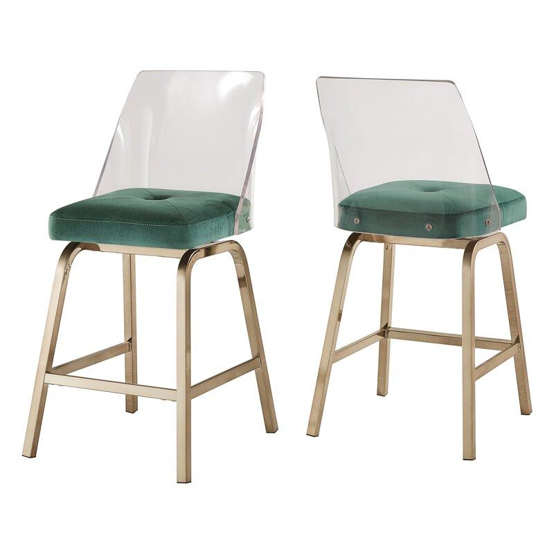 """Everly Quinn  Booneville 24"""" Swivel Bar Stool Upholstery: Green"""