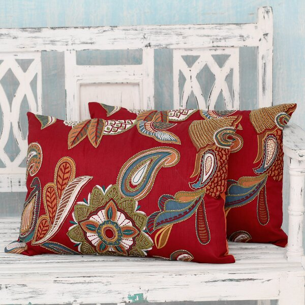 Novica Beauty Handmade Applique With Machine Embroidery Pillow Cover