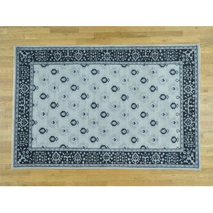 Find a One-of-a-Kind Bearer Cropped Thin Hand-Knotted 9'1 x 12' Wool Blue/White Area Rug By Isabelline