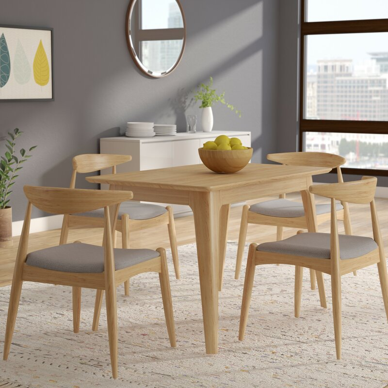 All Wood Dining Sets: Millie 5 Piece Mid Century Wood Dining Set & Reviews