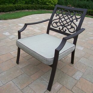 Stone Art Stacking Patio Dining Chair with Cushion (Set of 4)