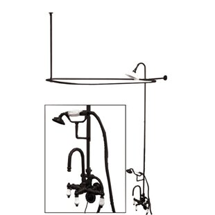 Elements of Design Vintage Shower andTub Faucet Set with Porcelain Lever Handles