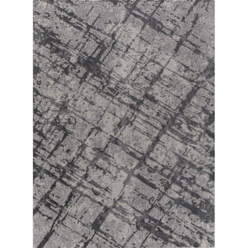 Ebern Designs Desdemona Gray Area Rug, Size: Rectangle 8 x 10