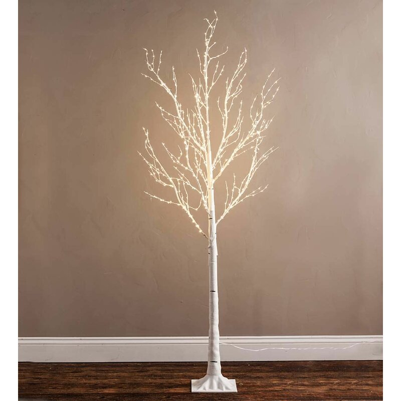70 birch artificial christmas tree with 600 clear lights