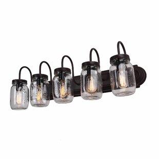 Williston Forge Benefield Mason Jar 5-Light Vanity Light
