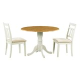 Ansonia 3 Piece Drop Leaf Solid Wood Dining Set by August Grove®