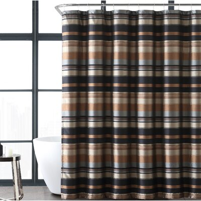 Charlton Home Heuer Stripe Single Shower Curtain  Color: Taupe/Gold
